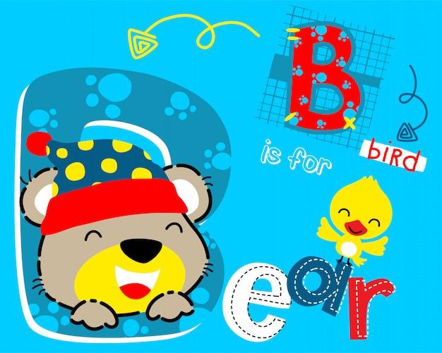 Desenho animado urso engraçado e passarinho