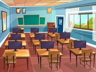 Desenho animado vazio colegial faculdade universidade computador ciência sala de aula fundo