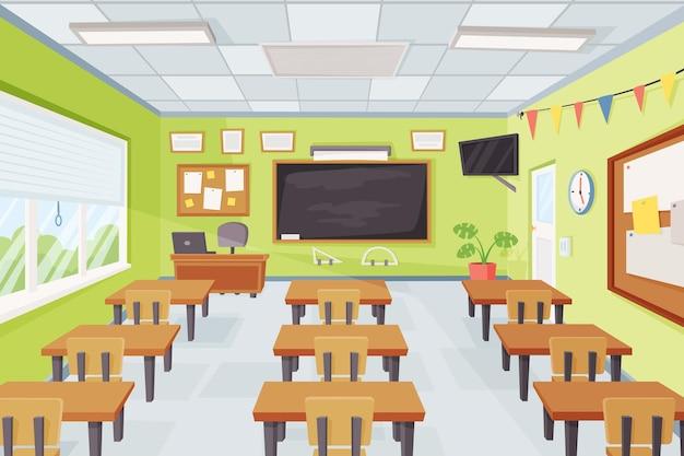 Desenho animado vazio interior da sala de aula escolar com mesas e ilustração vetorial de quadro-negro