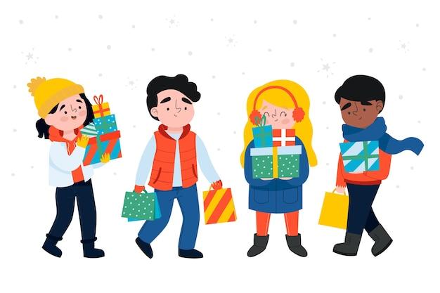 Desenho animado, vestindo roupas de inverno e segurando caixas de presente