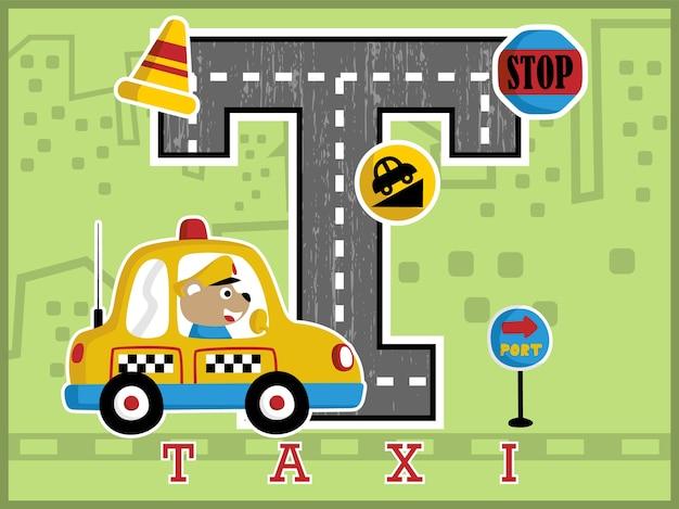 Desenho animador de táxi engraçado com grande alfabeto e sinais de trânsito