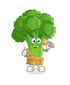 Desenho antigo de brócolis. mascote dos desenhos animados