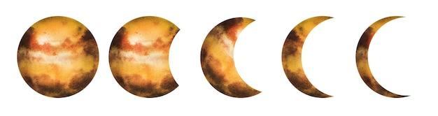 Desenho aquarela conjunto de planetas de um sistema solar.