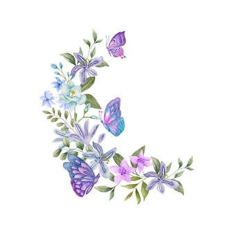 Desenho aquarela lindo buquê com borboletas