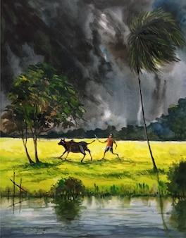 Desenho aquarela natureza dia chuvoso temporada premium vector