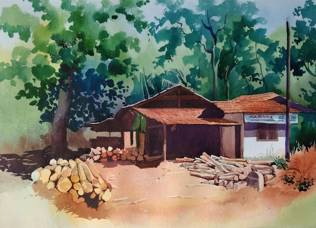 Desenho aquarela paisagem com ilustração de casa e árvore