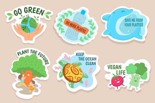 Desenho artístico da coleção de distintivo de ecologia