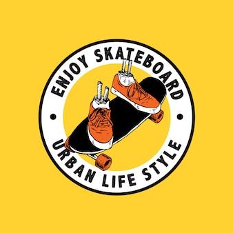 Desenho artístico da vida urbana do skate