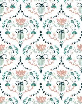 Desenho barroco floral com insetos. padrão sem emenda do damasco.