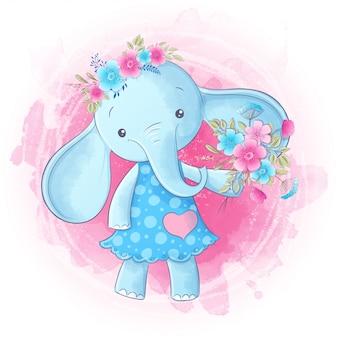 Desenho bonito da mão da menina do elefante dos desenhos animados. vetor