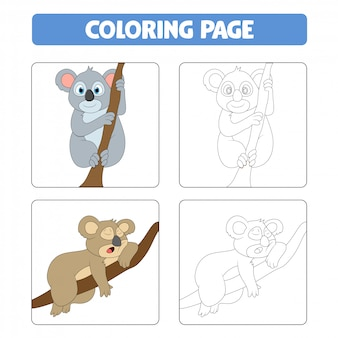 Desenho bonito de coala, livro para colorir