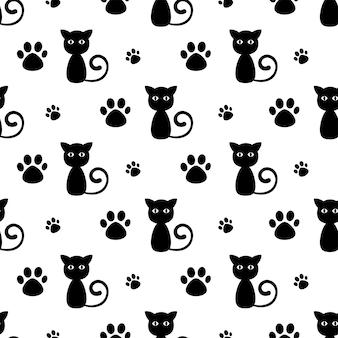 Desenho bonito de gato preto e pata sem costura padrão