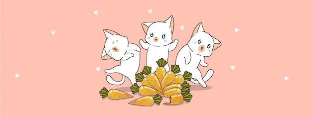 Desenho bonito de gatos e cenouras em dia de primavera