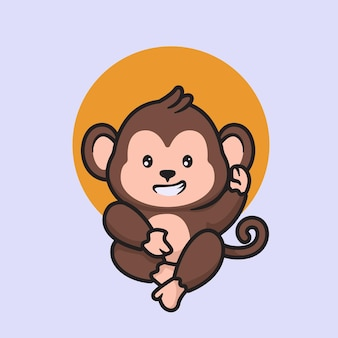 Desenho bonito de macaco acenando, desenho de mascote de macaco