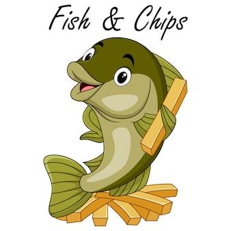 Desenho bonito de peixe com batatas fritas