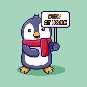 Desenho bonito de pinguim com placa para ficar em casa