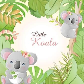 Desenho bonito em aquarela pequeno coala com flores