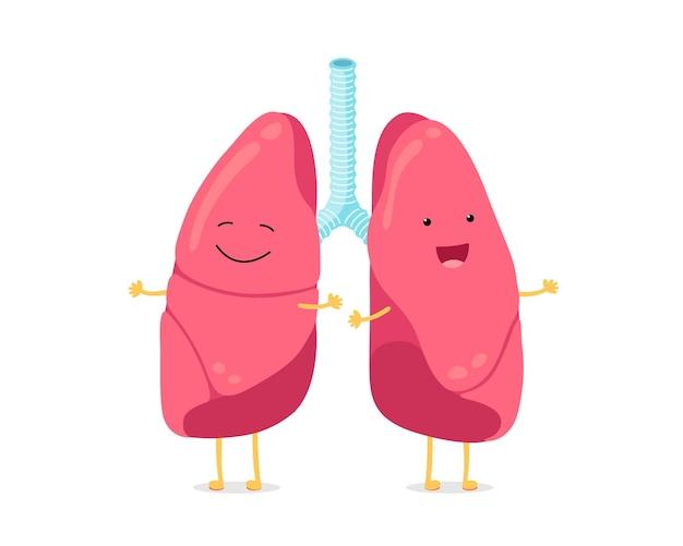 Desenho bonito engraçado pulmões personagem forte sorridente pulmão sistema respiratório humano feliz órgão interno