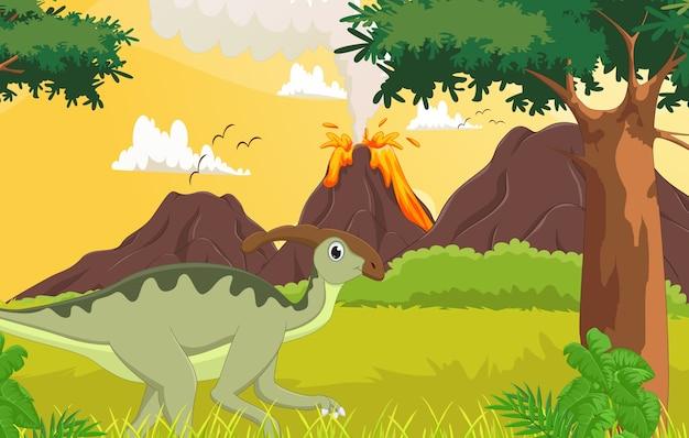 Desenho bonito parasaurolophus na selva