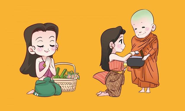 Desenho budista tailandês de menina e monge