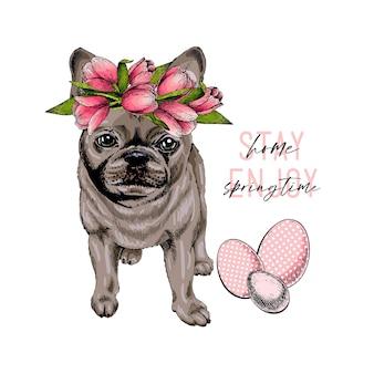 Desenho cão bulldog francês usando uma coroa de tulipa.