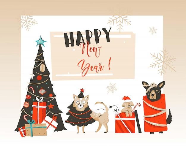 Desenho cartão com ilustrações de feliz natal e feliz ano novo com a árvore decorada de natal, cães mamíferos de estimação e tipografia moderna em fundo branco