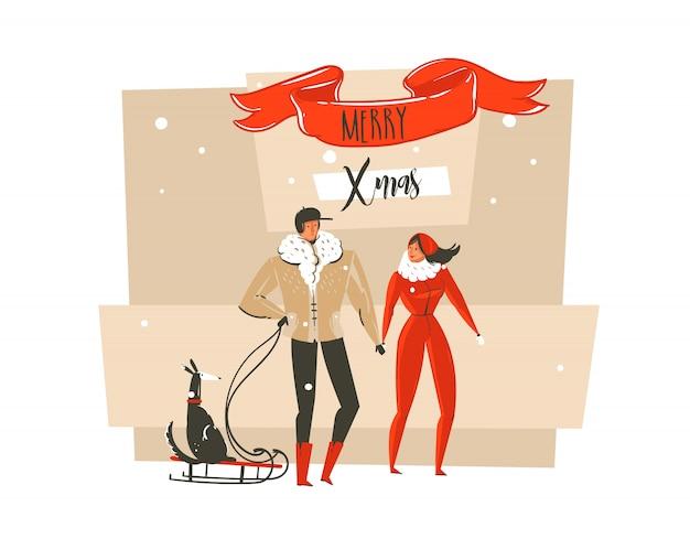 Desenho cartão com ilustrações de feliz natal e feliz ano novo com um casal de pessoas da família ao ar livre, cachorro no trenó e tipografia moderna em fundo branco