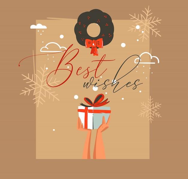 Desenho cartão de feliz natal e feliz ano novo com ilustrações de coon retro com as mãos das pessoas que seguram uma caixa de presente surpresa e visco no fundo do artesanato