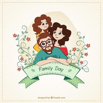 Desenho cartão de linda família