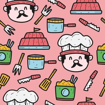Desenho cartoon desenho padrão chef