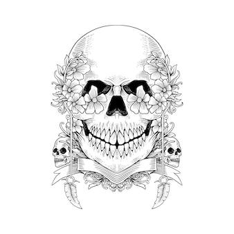 Desenho caveira de esqueleto desenhada mão e flor pode ser usada para tatuagem, design de camiseta, decoração.