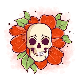 Desenho caveira e flor para tatuagem e adesivo