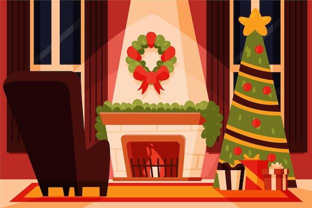 Desenho cena de lareira de natal