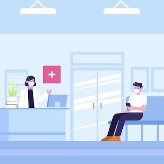 Desenho cena de recepção de hospital com pessoas usando máscaras médicas
