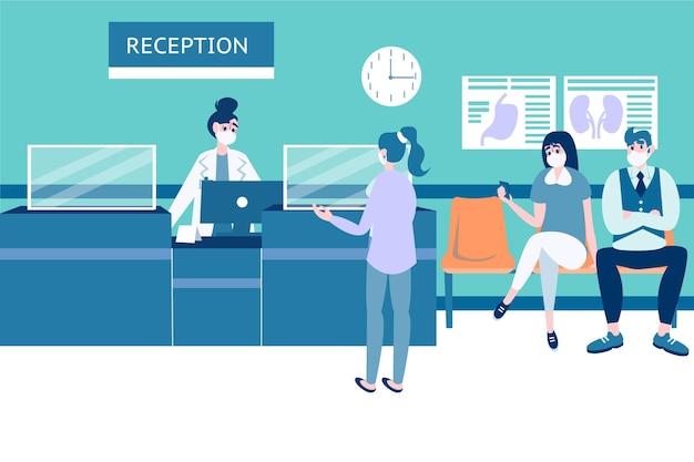 Desenho cena de recepção de hospital com pessoas usando máscaras