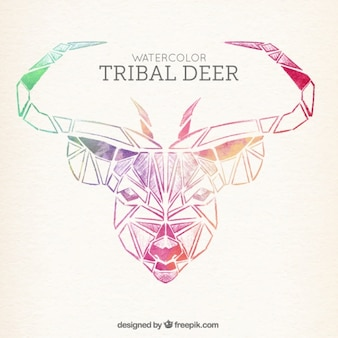 Desenho cervos decorativo no estilo étnico