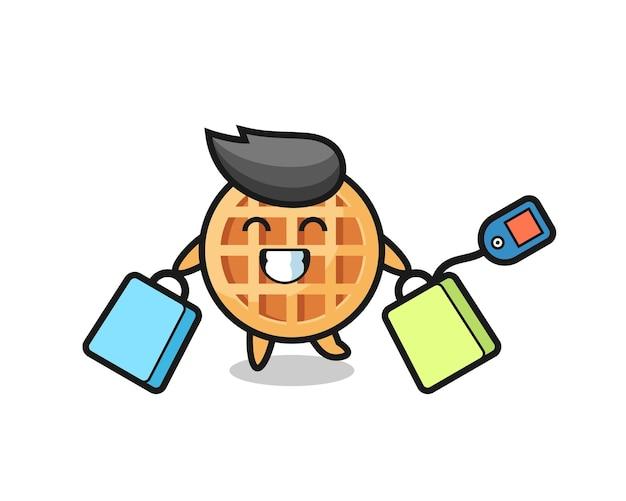 Desenho circular da mascote waffle segurando uma sacola de compras, design fofo