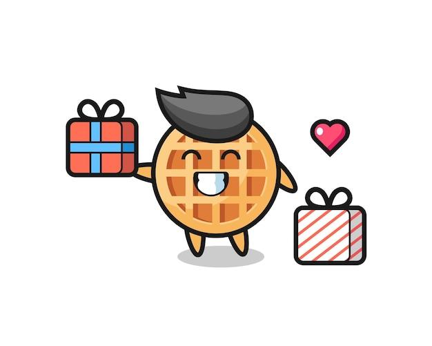 Desenho circular do mascote do waffle dando o presente, design fofo