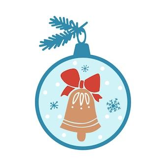 Desenho clipart de feliz natal com flocos de neve de sino de árvore de brinquedos em fundo branco