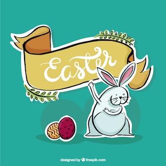 Desenho coelho engraçado com uma fita de páscoa
