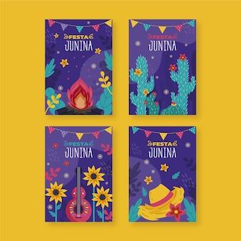 Desenho coleção de cartões festa junina