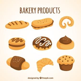 Desenho coleção de produtos de padaria