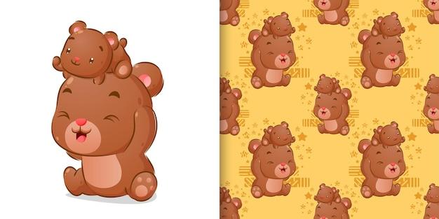 Desenho colorido à mão de ursos brincando juntos na ilustração do conjunto de padrões sem emenda