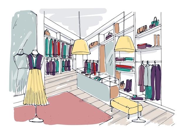 Desenho colorido à mão livre do interior de uma boutique de roupas da moda com móveis, vitrines e manequins vestidos com roupas da moda