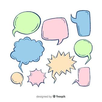 Desenho colorido com coleção de bolha do discurso