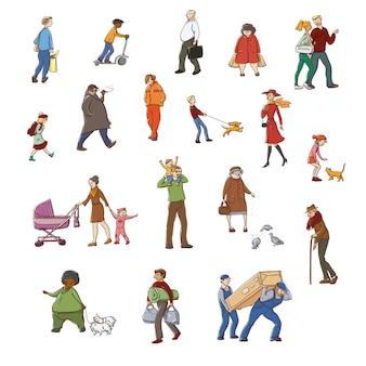Desenho colorido conjunto de ilustrações andando residentes urbanos. crianças e adultos em várias situações da cidade.