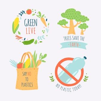Desenho colorido da coleção de distintivo de ecologia