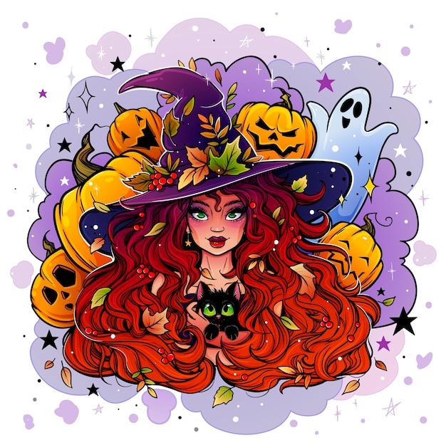 Desenho colorido de uma bruxa com um chapéu de bruxa