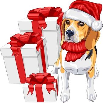 Desenho colorido do cão da raça beagle no chapéu vermelho do papai noel com presentes de natal