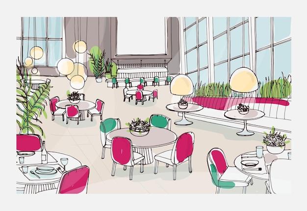 Desenho colorido do interior de um restaurante moderno decorado com mesas, cadeiras e luzes suspensas elegantes